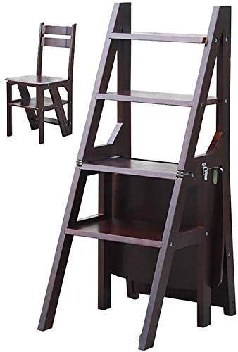 YZjk Taburete Plegable fácil y multifunción, Escalera Plegable Convertible, Silla Escalera de Biblioteca, Taburete de 4 peldaños de Madera Natural Multifuncional, Capacidad de 120 kg, Color Madera: Amazon.es: Hogar