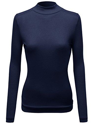 - Mock Turtle Neck Long Sleeve Knit Top Sweater Navy Size M