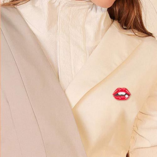 Doitsa 28 x 28 mm Broche de labios rojos de aleaci/ón elegante para hombre y mujer