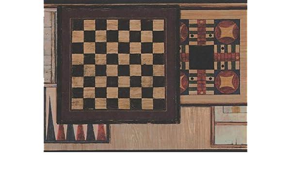 Retro Art Damas ajedrez Vintage mesas diseño Retro de la frontera Wallpaper de juegos de mesa, rollo de 15 x 9: Amazon.es: Bricolaje y herramientas