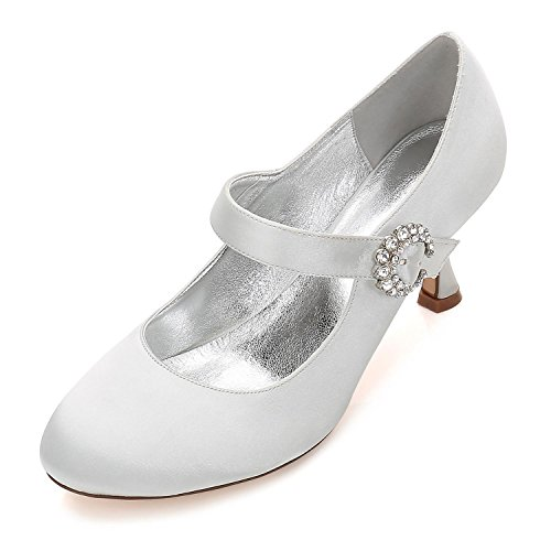 Boucle de Haut Mariage silver Femmes Fermé Mary Chaussures YC Nuptiale Talon de Mariage 17061 26 L Jane Dentelle Orteil Satin Pompes OEzwTRq