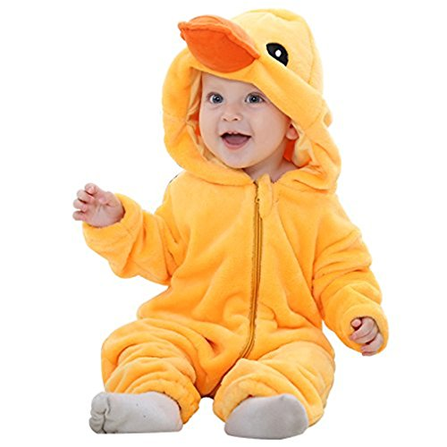 Baby Animal Suit (MICHLEY Unisex Baby Romper Winter and Autumn Flannel Jumpsuit Animal Cosplay Outfits Yellow-100cm)