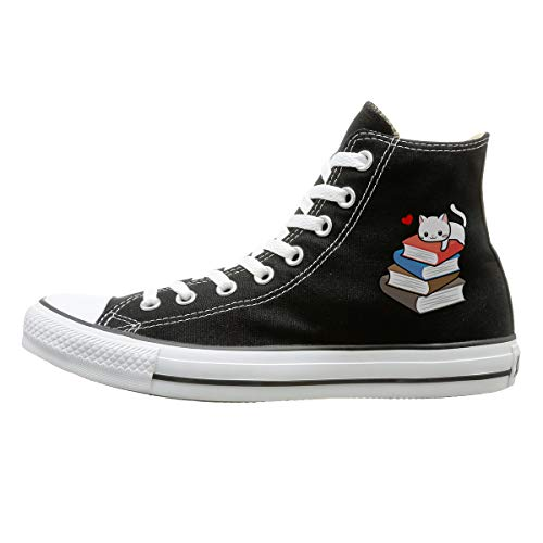 Aiguan Cat Book Nerd Reader On Books Cute Geek Funny Canvas Shoes High Top Design Black Sneakers Unisex Style 126