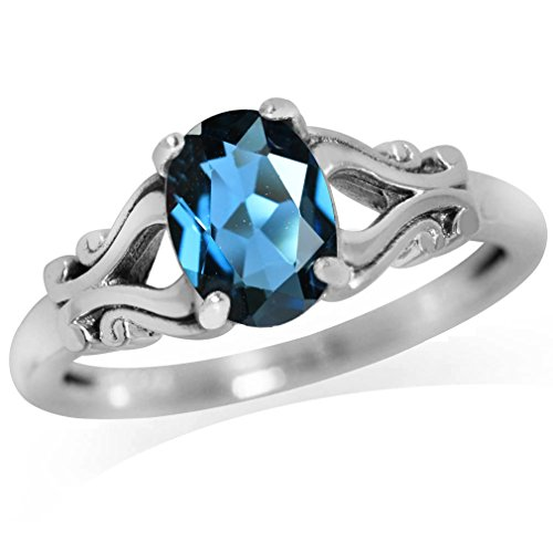 - 1.43ct. Genuine London Blue Topaz 925 Sterling Silver Victorian Style Solitaire Ring Size 10