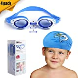 Landisun Kids Swim Goggles Swimming Glasses Suits with Nose Clip, Ear Plugs,Swimming Cap