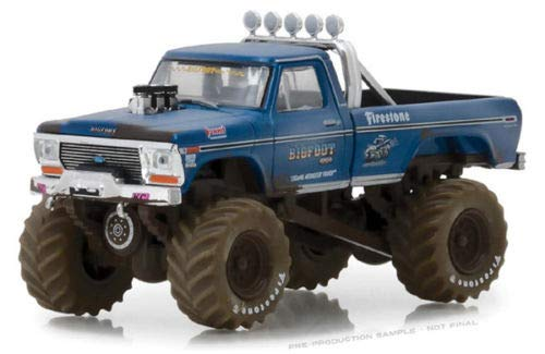 Greenlight 1974 Ford F-250 Monster Truck Bigfoot #1 (Dirty Version) Blue Kings of Crunch Series 1 1/64 Diecast Model Car 49010 A (Model Bigfoot)
