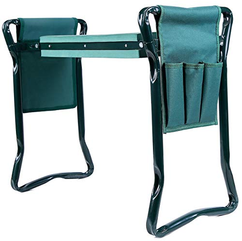 Ohuhu Garden Kneeler and Seat with 2 Bonus Tool Pouches, Foldable Garden Bench Stools, Portable Kneeler for Gardening Gardeners