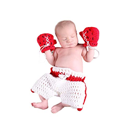 Shark strawberry Cute Baby Newborn Boxing Costume Crochet Knitted Costume Glove Photography Props (White)]()