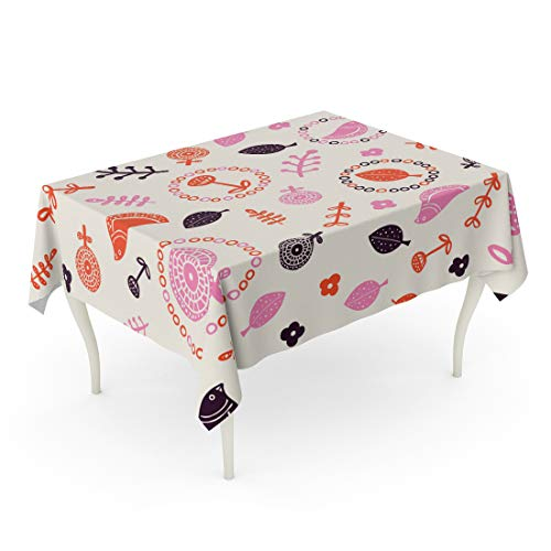 Semtomn 60 x 102 Inch Decorative Rectangle Tablecloth Mid Century Summer Pattern Retro Vintage Fifties Styled Inspired Waterproof Oil-Proof Printed Table Cloth