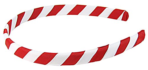 """HipGirl Grosgrain Ribbon Wrapped Headbands for Girl Baby Teen Kid Toddler Children Adult. Assortment Fashion Accessory To Match Outfits, Dresses--5pc 1/2"""" Inch Wide (5pc Stripe--White/Red)"""