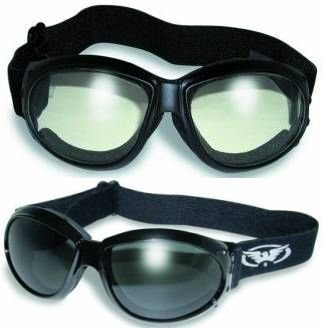 Motorcycle Eye Protection - 2 Eliminator Motorcycle Goggles Clear and Smoke Tinted Plus Pouches/Storage Bags Day Night Great for Dust Storms and Keeping Wind and Debris out of the Eyes Sand Desert