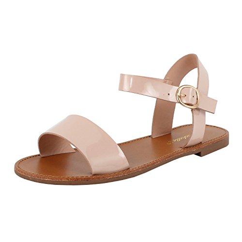 Womens Open Teen Enkelbandje One Band Comfort Flat Buckle Flats-sandalen, Blozen Patent, 8