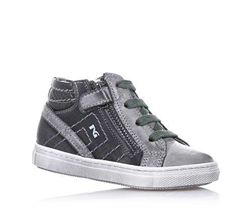 NERO GIARDINI - Sneaker à lacets grise en cuir et tissu, avec fermeture éclair latérale, logo latéral, lacets verts, coutures visibles, garçon, garçons
