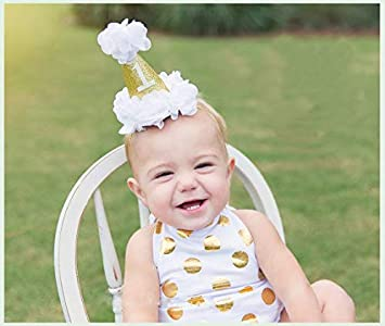 Amazon Cute Baby 1st Birthday Crown Headband Flower Cone Hat Elastic Glitter Photo Prop HatWhite Beauty
