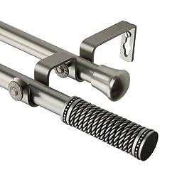 A&F Rod Decor - Woven Double Curtain Rod 66-120 inch - Satin Nickel