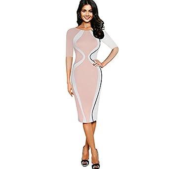 f66665fb2819 Amazon.com  EbuyChX Women s Wear Five-Point Sleeve Stitching Stretch ...