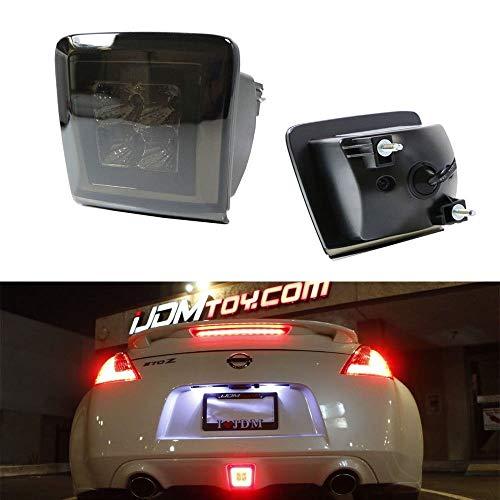iJDMTOY Dark Smoked Lens LED Rear Fog Light Kit For 2009-up Nissan 370Z & 13-17 Juke Nismo, Powered by Red LED as Brake/Rear Fog & White LED as Backup Reverse Lamp