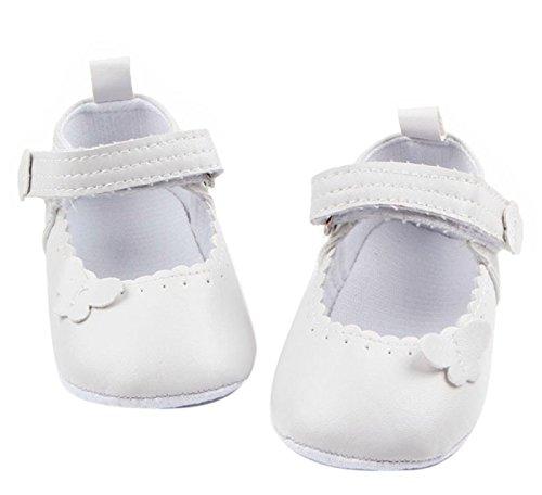 Happy Cherry Baby Mädchen Schuhe Rutschfeste Lauflernschuhe PU-Leder Sneaker Krabbelschuhe Weiche Sohle Neugeborene Schuhe für 3-11 Monate Weiß