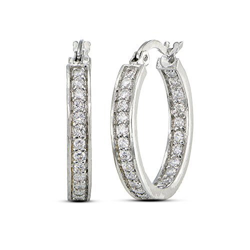 LOVVE Cubic Zirconia Inside Out 3/4 Inch Hoop Earrings, Available in Many Color Options