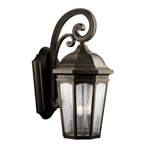 Kichler Lighting 9035RZ Courtyard 3-Light Incandescent Outdoor Wall Mount Lantern, Rubbed Bronze with Clear Seedy Glass by Kichler