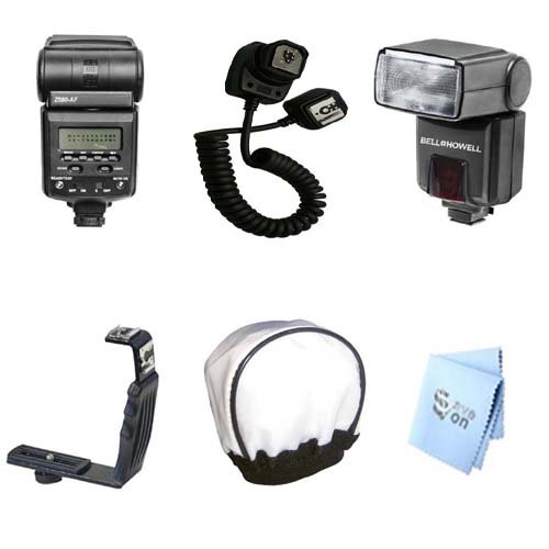 Professional TTL Package for Panasonic LUMIX DMC-FZ30 FZ35 FZ50 L10 L1 L10K G10K GH2 GH1 L1K LC1 FZ100K FZ40 GF1 GF2CK DMW-FL360 DMW-FL28 DMW-FL50 which includes 1 Professional Ultra Power/Zoom TTL and 270 Degree Swivel D-SLR Flash, Right Angle Flash Brac by Promax