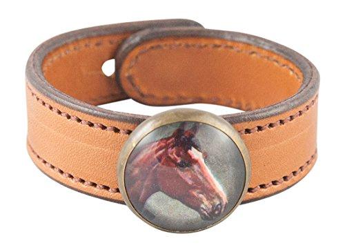 (Rebecca Ray Designs Equestrian Bay Horse Rosette Slide Natural Leather Cuff Bracelet (Natural-Bay Horse))