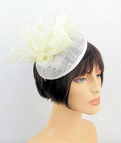 Light Cream Sinamay Circular Curved Disc Hair Fascinator ...