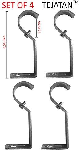 TEJATAN Curtain Rod Brackets - SILVER (Se of 4 Brackets) (Also known as - Curtain rod Holder / Curtain rod Bracket / Bracket for Drapery rod / Brackets for curtains rod)