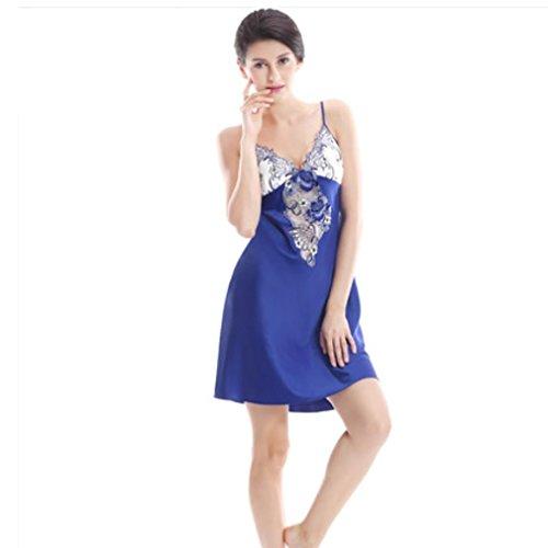 HXQ Mujeres Ropa Seda Muñeca Bordado Mini Vestido de noche Ropa Falda de la Honda Blue