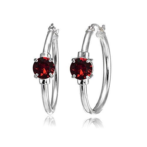 (Sterling Silver Dark Red Round Solitaire 25mm Hoop Earrings Made with Swarovski Crystals)