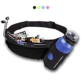HAISSKY Running Waist Belt with Water Bottle Holder, Waterproof Sports Waist Pack with Reflective Strip for Jogging Running Walking Cycling Hiking Fit for Men and Women