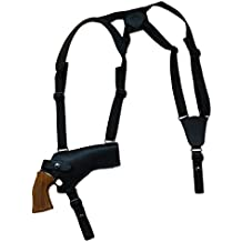 "New Barsony Horizontal Black Leather Shoulder Holster for 4-5"" .38 .357 .41 .44 Revolvers"