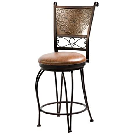 Powell Bronze With Muted Copper Stamped Back Counter Stool 24 Inch