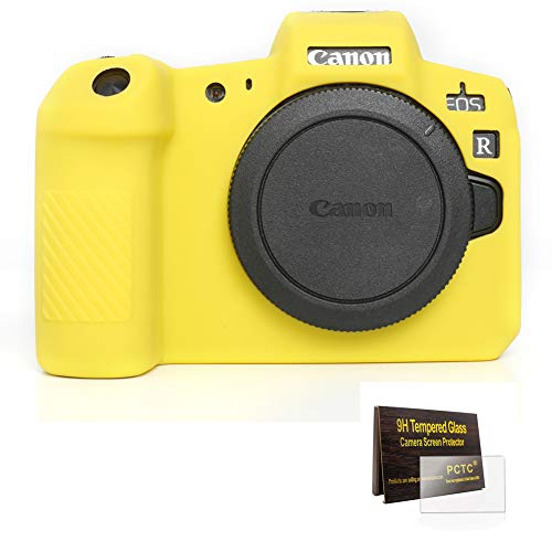 (PCTC Accessories Compatible for Canon EOS R Camera Silicone Protective Cover Housing Frame Shell Case + 2 LCD Screen Protector + 2 Top Screen Protector (Yellow))