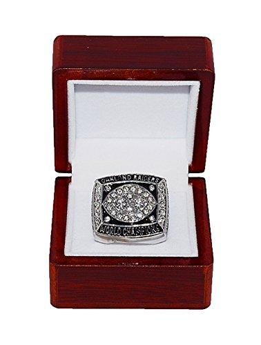 OAKLAND RAIDERS (Jim Plunkett) 1980 SUPER BOWL WORLD CHAMPIONS (Vs. Philadelphia Eagles) Vintage Rare & Collectible Replica Silver NFL Championship Ring with Cherrywood Display Box