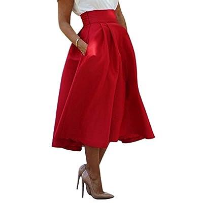 Lisli Women Stretch High Waist A line Pleated Skirt Plain Skater Flared Midi Dress
