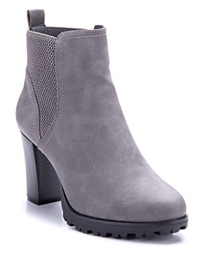 Schuhtempel24 Damen Schuhe Klassische Stiefeletten Stiefel Boots Blockabsatz 8 cm Grau