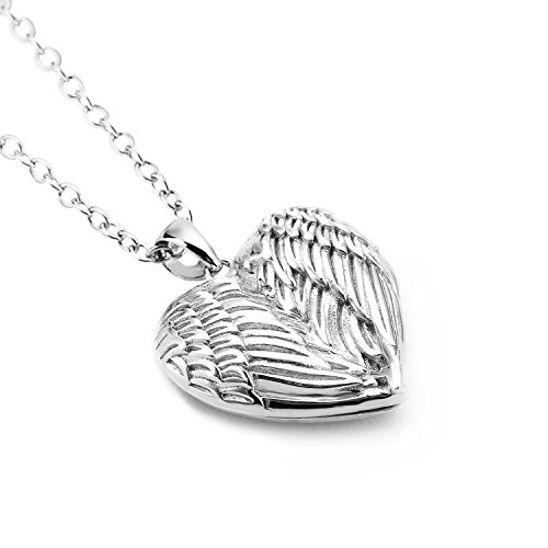 ilver Heart Necklace Angel Wings Engraved Pendant Locket (Photo Engraved Heart)