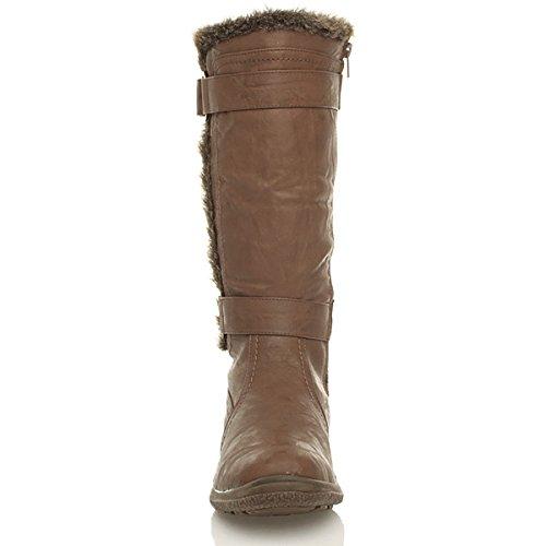 Womens zip loop calf low wide ladies hook size boots Ajvani heel Tan adjustable amp; Brown fur flat dxnI7SXwvq