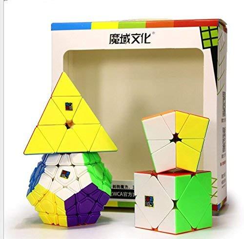 Elloapic Pack of 4 MoYu MOFANGJIAOSHI Cubing Classroom Irregular Shape Magic Cubes Speed Cubes Set Stickerless,with Gift Package