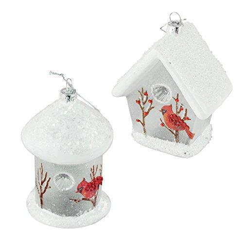 Cardinal Birdhouse Glass Christmas Ornaments, White, 4-3/...