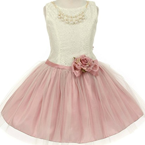 Flower Girl Two Toned Dress with Pearl & Stone Necklace for Big Girl Dusty Rose 8 63.63 (Flower Toned Two)