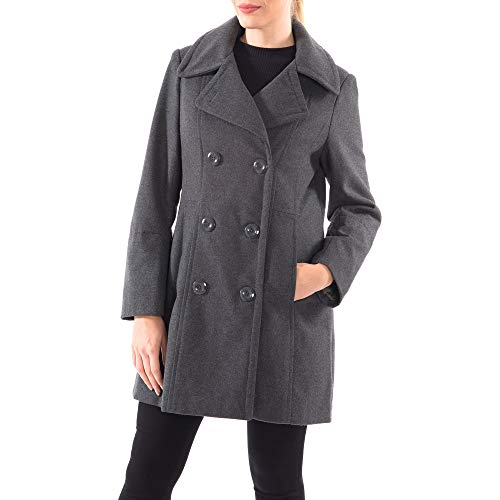alpine swiss Norah Womens Wool Blend Double Breasted Peacoat Gray Small
