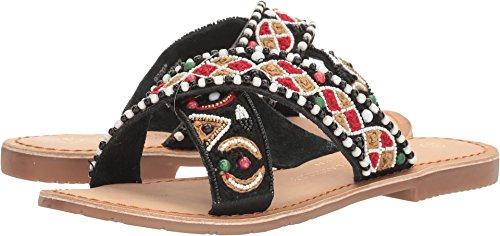 Chinese Laundry Women's Purfect Beaded Slide Sandal, Black Leather, 7.5 M US