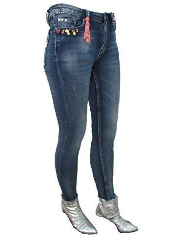 Wiya Italy Femmes Maigre Cheville Grazer Jeans Skinny Breloques Fruits Fruits