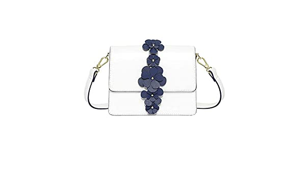 Color : White Shoulder Bags Shoulder Bag PU//Flash Material//Polyester 2 Colors Optional Mori Small Fresh Soft face Casual Girl Bag Diagonal Versatile Simple Lady Flower Small Square Bag