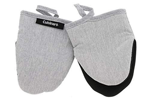 - Cuisinart Chambray Neoprene Mini Oven Mitts, 2pk - Heat Resistant Kitchen Gloves to Protect Hands & Surfaces w/ Non-Slip Grip & Hanging Loop -Ideal for Handling Cookware/Bakeware - Light Grey