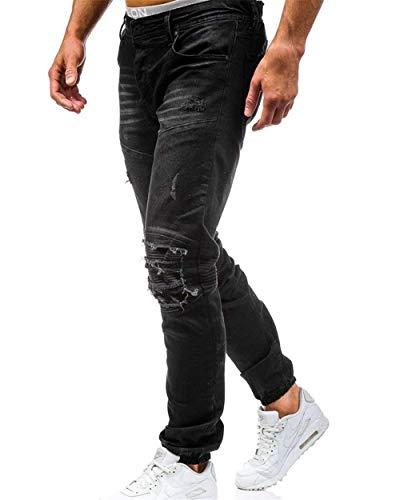 Nero Casual Da Pantaloni Slim Strappati Jeans Uomo Skinny Giovane Vintage Fit 17vxpqw
