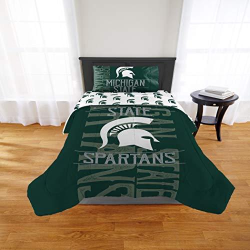 (1 Piece NCAA Michigan State University Spartans Comforter Twim/Full, Sports Patterned Bedding, Featuring Team Logo, Fan Merchandise, Team Spirit, College Basket Ball Themed, Green Multi, For Unisex)