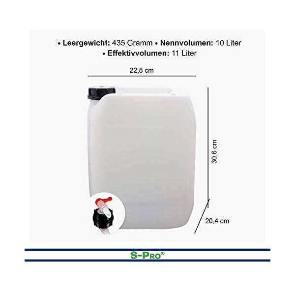 41yK%2BgCrs6L S-Pro Wasserkanister Trinkwasser mit Hahn, Lebensmittelecht, 10l für Haus, Garten und Camping Wasserbehälter, leer
